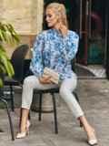 Белая блузка свободного кроя с голубыми цветами 54608, фото 2