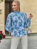 Белая блузка свободного кроя с голубыми цветами 54608, фото 3