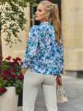 Белая блузка свободного кроя с голубыми цветами 54608, фото 4