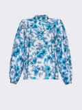 Белая блузка свободного кроя с голубыми цветами 54608, фото 5