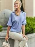 Голубая блузка с отложным воротником и V-образным вырезом 54611, фото 2