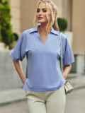 Голубая блузка с отложным воротником и V-образным вырезом 54611, фото 3