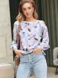 Принтованная блузка на одно плечо розовая 54609, фото 1