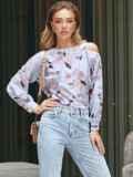 Принтованная блузка на одно плечо розовая 54609, фото 2