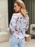 Принтованная блузка на одно плечо розовая 54609, фото 3