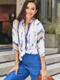 Принтованная блузка с эффектом тай-дай и нагрудным карманом белая 54615, фото 2
