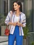 Принтованная блузка с эффектом тай-дай и нагрудным карманом белая 54615, фото 3