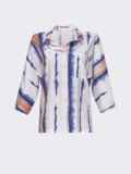 Принтованная блузка с эффектом тай-дай и нагрудным карманом белая 54615, фото 6