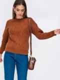 Свитер с ажурной вязкой и удлиненной спинкой коричневый 41832, фото 2