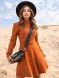 Терракотовое платье-мини из замши с расклешенной юбкой 41313, фото 1