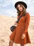 Терракотовое платье-мини из замши с расклешенной юбкой 41313, фото 2
