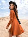 Терракотовое платье-мини из замши с расклешенной юбкой 41313, фото 3