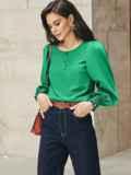 Зеленая блузка из хлопка с длинными объемными рукавами 54610, фото 3