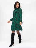 Платье-гольф с принтом и оборкой на полочке зеленое 52940, фото 3