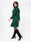 Платье-гольф с принтом и оборкой на полочке зеленое 52940, фото 4
