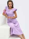 Расклешенное платье из прошвы с открытой спиной сиреневое 54373, фото 2
