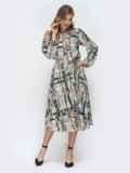 Серое платье с принтом и расклешенной юбкой 45892, фото 1