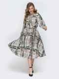 Серое платье с принтом и расклешенной юбкой 45892, фото 2