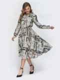 Серое платье с принтом и расклешенной юбкой 45892, фото 3