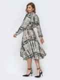 Серое платье с принтом и расклешенной юбкой 45892, фото 4