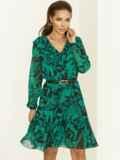 Зеленое платье с принтом и воланом по низу 52939, фото 1