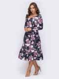Платье с расклешенной юбкой и флористичным принтом чёрное 42025, фото 2