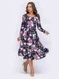 Платье с расклешенной юбкой и флористичным принтом чёрное 42025, фото 3