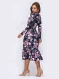 Платье с расклешенной юбкой и флористичным принтом чёрное 42025, фото 4