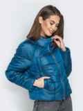 Укороченная куртка с воротником-стойкой и карманами синяя 20308, фото 2