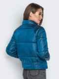 Укороченная куртка с воротником-стойкой и карманами синяя 20308, фото 3