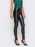 Черные кожаные лосины без застежек 10638, фото 2