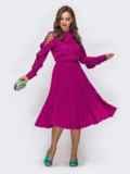 Малиновое платье с воротником-аскот и юбкой-плиссе 42826, фото 1