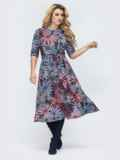 Приталенное платье с принтом синее 45362, фото 2