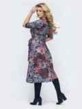Приталенное платье с принтом синее 45362, фото 3