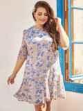 Платье-трапеция батал из шифона с принтом бежевое 54396, фото 2