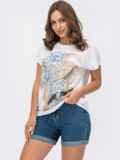 Белая футболка из вискозы с авторским принтом 54167, фото 2