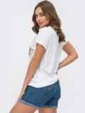 Белая футболка из вискозы с авторским принтом 54167, фото 3