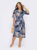 Принтованное платье с юбкой на запах темно-синее 53840, фото 1
