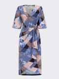 Принтованное платье с юбкой на запах темно-синее 53840, фото 4