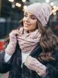 Зимний комплект-тройка с шапкой и хомутом пудровый 51123, фото 1