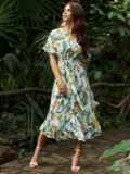 Белое платье из софта с цветочным принтом на пуговицах 54261, фото 1