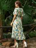 Белое платье из софта с цветочным принтом на пуговицах 54261, фото 4