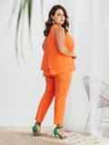 Оранжевый комплект большого размера из блузки и брюк 48023, фото 2