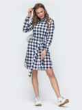 Платье-рубашка в синюю клетку 45785, фото 2