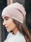 Зимняя шапка без помпона с нитью люрекса пудровая 14731, фото 2