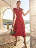 Красное платье с оригинальным вырезом по спинке 54284, фото 2