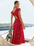 Красное платье с оригинальным вырезом по спинке 54284, фото 3