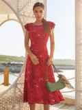 Красное платье с оригинальным вырезом по спинке 54284, фото 5