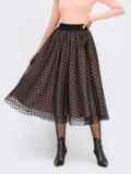 Расклешенная юбка-миди с фатиновым чехлом бежевая 54652, фото 1