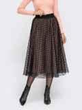 Расклешенная юбка-миди с фатиновым чехлом бежевая 54652, фото 2